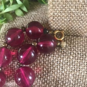 Vintage Jewelry - Vintage Baroque Pearl Fushia Beaded Necklace